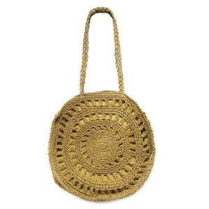 """Woven raffia straw bag with lined pouch. Approximately 16"""" in diameter with a 14"""" strap."""
