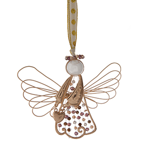 """Gold tone wire Christmas ornament in the shape of an angel. Approximately 3"""" x 4."""""""