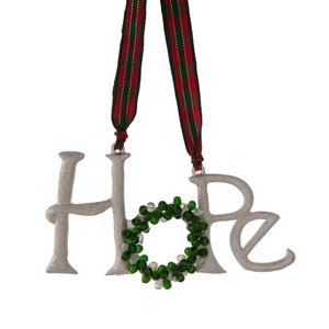 """Silver tone """"Hope"""" Christmas ornament with red and white beads. Approximately 4""""x 2."""""""