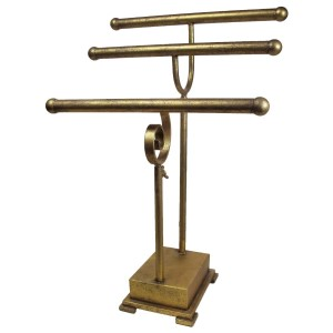 """Gold jewelry display stand. Height is adjustable. Perfect for necklaces and bracelets. 14""""x 7"""" x 25""""."""