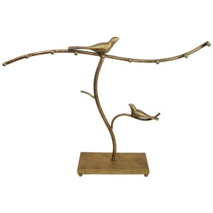"""Gold jewelry display stand with decorative sparrows. Perfect for necklaces and bracelets. 21""""x 4"""" x 16""""."""