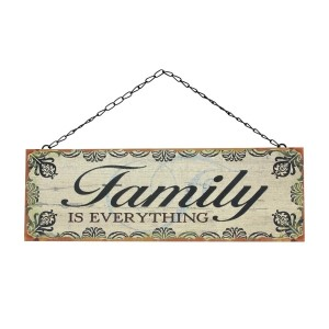 "Rustic metal wall sign on a chain link hanger, that reads ""Family is everything."" Measure approximately 14.5"" x 5""."