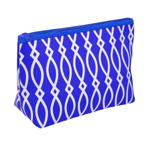 "Small neoprene zipper pouch with a royal blue and white print. Perfect for monogramming! Measures approximately 10.5"" x 7"" x 3"" in size."