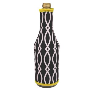 Insulated, neoprene, wine coozie with a black and yellow print. Perfect for monogramming and is machine washable.