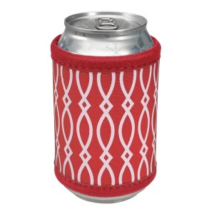 """Neoprene velcro, crimson and white coozie that fits bottle, cans, and flasks. Perfect for monogramming! Measures approximately 4"""" x 9"""" in size."""
