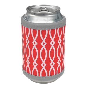 """Neoprene velcro, red and gray coozie that fits bottle, cans, and flasks. Perfect for monogramming! Measures approximately 4"""" x 9"""" in size."""