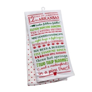 """12 Days of Christmas in Arkansas"" tea towel, measures 25"" x 19"" when open and is 100% cotton. All artwork and lyrics are copyrighted."