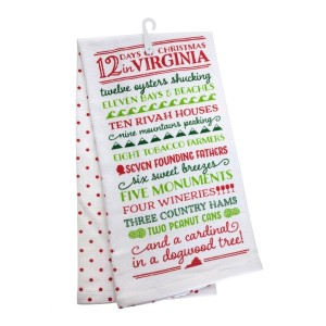 """12 Days of Christmas in Virginia"" tea towel, measures 25"" x 19"" when open and is 100% cotton. All artwork and lyrics are copyrighted."