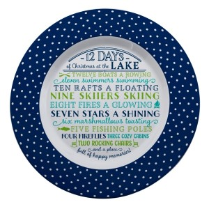"Melamine ""12 Days of Christmas at the Lake"" platter is dishwasher and microwave safe. Measures 14"" in diameter. All artwork and lyrics are copyrighted."