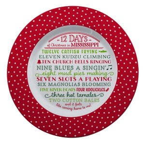 "Melamine ""12 Days of Christmas in Mississippi"" platter is dishwasher and microwave safe. Measures 14"" in diameter. All artwork and lyrics are copyrighted."