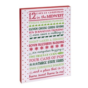 """12 Days of Christmas in the Midwest"" canvas wall art featuring licensed and copyrighted lyrics and artwork. Measures approximately 12"" x 18"" x 1.5."""