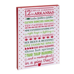 """12 Days of Christmas in Arkansas"" canvas wall art featuring licensed and copyrighted lyrics and artwork. Measures approximately 12"" x 18"" x 1.5."""