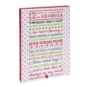 """12 Days of Christmas in Georgia"" canvas wall art featuring licensed and copyrighted lyrics and artwork. Measures approximately 12"" x 18"" x 1.5."""