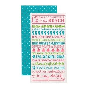 """""""12 Days of Christmas at the Beach"""" guest napkins are two-ply and feature a polka dot print on the back. Measures approximately 4.5"""" x 8"""" when folded and comes 16 napkins to a pack. All artwork and lyrics are copyrighted."""