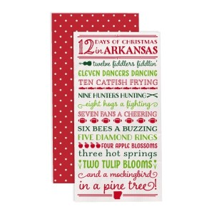 """12 Days of Christmas in Arkansas"" guest napkins are two-ply and feature a polka dot print on the back. Measures approximately 4.5"" x 8"" when folded and comes 16 napkins to a pack. All artwork and lyrics are copyrighted."