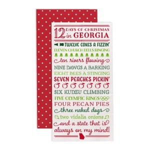 """12 Days of Christmas in Georgia"" guest napkins are two-ply and feature a polka dot print on the back. Measures approximately 4.5"" x 8"" when folded and comes 16 napkins to a pack. All artwork and lyrics are copyrighted."