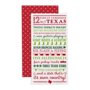 """""""12 Days of Christmas in Texas"""" guest napkins are two-ply and feature a polka dot print on the back. Measures approximately 4.5"""" x 8"""" when folded and comes 16 napkins to a pack. All artwork and lyrics are copyrighted."""