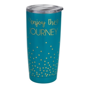 Enjoy the Journey tumbler cup. This tumbler features: vacuum insulation, 304 grade - 18/8 stainless steel, a BPA free push seal lid, copper coated inner walls, a 20oz capacity, is sweat free, and keeps drinks cold up to 24 hours and hot up to 12 hours.