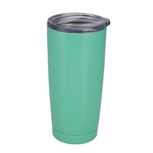 Mint green tumbler cup features: vacuum insulation, 304 grade - 18/8 stainless steel, a BPA free push seal lid, copper coated inner walls, a 20oz capacity, is sweat free, and keeps drinks cold up to 24 hours and hot up to 12 hours.