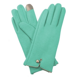 Mint green, fleece-lined gloves features touchscreen fingertips, and are accented with a gold button detail.