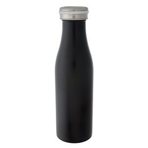 Black double walled, stainless steel, bottle keeps 17 ounce drinks hot or cold for up to 24 hours. Features a vacuum seal, is non-toxic, and BPA free.