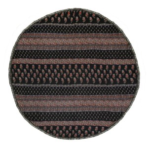 """Black roundie displaying red and white floral, striped pattern and a fringe edge can be used as a beach throw, rug or tapestry. 100% viscose. Approximately 72"""" in diameter."""