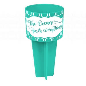 "Turquoise drink holder is the perfect beach accessory and is printed with ""The Ocean Fixes Everything."""