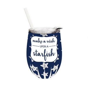 """12 ounce plastic stemless wine sippy cup with lid and straw, featuring the saying """"Make a wish upon a starfish."""""""