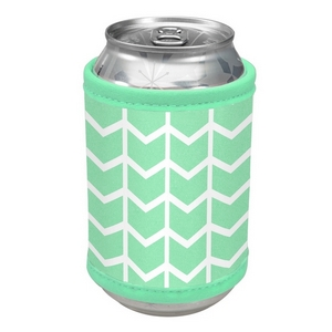 Mint green neoprene velcro can cooler with a chevron print.
