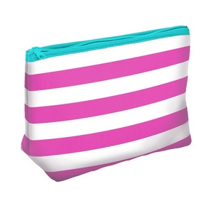"Pink neoprene travel bag measuring 10"" x 7"" Perfect for monogramming."