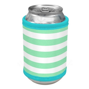 Mint green and white striped velcro can cooler.