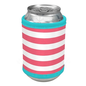 Hot pink and white striped velcro can cooler.