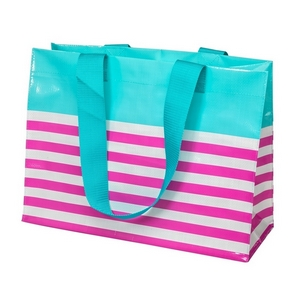 "Woven polypropylene tote bag with two handles, featuring a white and pink stripe pattern. Measures approximately 18"" x 13"" in size."