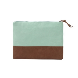"Mint green canvas travel bag with a leather bottom measuring 12"" x 9"". Perfect for monogramming."