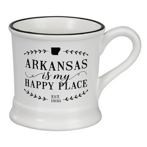 "White ceramic mug that says ""Arkansas is my Happy Place"" and hold 14 ounces."