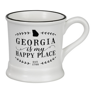 """White ceramic mug that says """"Georgia is my Happy Place"""" and hold 14 ounces."""
