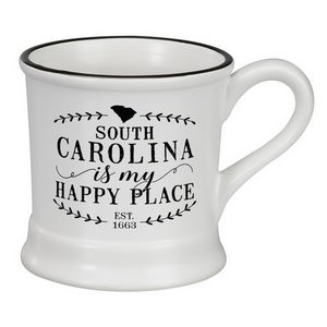 "White ceramic mug that says ""South Carolina is my Happy Place"" and hold 14 ounces."