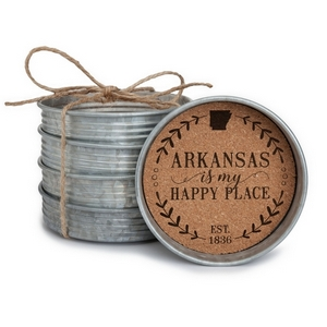 "Four piece mason jar lid coaster set featuring the ""Arkansas is my Happy Place"" painted on each. Approximately 4"" in diameter."