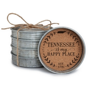 "Four piece mason jar lid coaster set featuring the ""Tennessee is my Happy Place"" painted on each. Approximately 4"" in diameter."