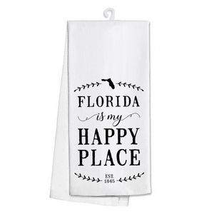 "White tea towel featuring ""Florida is my Happy Place"" printed on both sides. 100% cotton. Measures 25"" x 19"" when open."