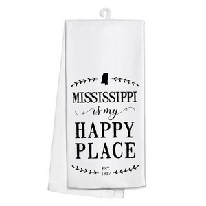 "White tea towel featuring ""Mississippi is my Happy Place"" printed on both sides. 100% cotton. Measures 25"" x 19"" when open."