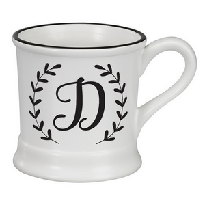 White ceramic mug featuring a script 'D' initial and hold 14 ounces.