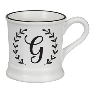 White ceramic mug featuring a script 'G' initial and hold 14 ounces.