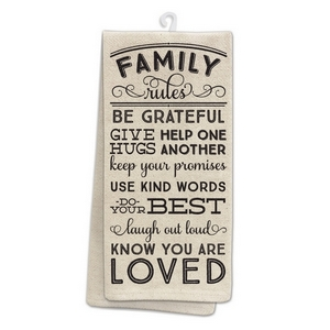 "Tan tea towel featuring ""Family Rules"" printed on both sides. 100% cotton. Measures 25"" x 19"" when open."