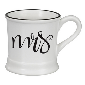 White ceramic mug hold 14 ounces, featuring Mrs. in black script. Perfect for adding your own monogram on the other side.