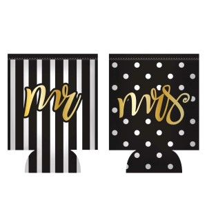 Mr. and Mrs. neoprene, two piece can cooler set.