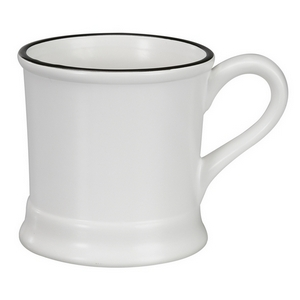 White ceramic mug that hold 14 ounces. Perfect for adding your own monogram.