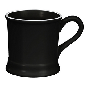 Black ceramic mug that hold 14 ounces. Perfect for adding your own monogram.