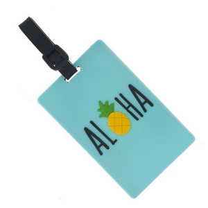"""Rubber luggage tag with name and address card, that says """"Aloha."""""""