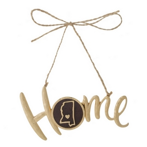 "Hammered gold tone ""Home"" on jute hanging cord featuring the state of Mississippi. Can be used multiple ways - ornaments, gift tags, craft projects. Approximately 4"" in width."